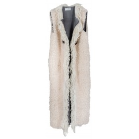 "VEST IN ECO FUR, SHEEPSKIN STYLE WITH WHITE WOOLEN FRINGES ""alexandRA-INwinter"""