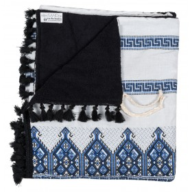 """BEACH TOWEL ΗΑΝDWOVEN  IN BLUE/ WHITECOTTON WITH TRADITIONAL EMBROIDERY """"alexSANDra on the beach"""""""