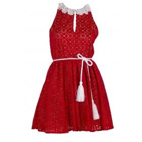 """Φορεμα απο κοκκινη δαντελλα με λευκο γιακαδακι, ζωνη και φουρω """"alexSANDra on the beach"""""""
