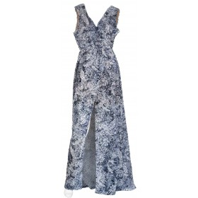 "DRESS MAXI WRAP WITH SEQUINS IN BLUE-BLACK & WHITE SHADES ""alexSANDra on the beach"""