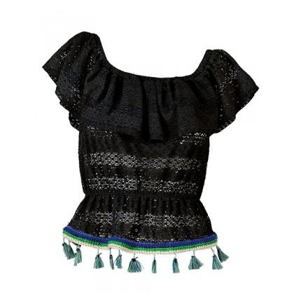 """Τοπ απο μαυρη δαντελα με βολάν & εξω ωμους και χρωματιστα φουντακια """"alexSANDra on the beach"""""""