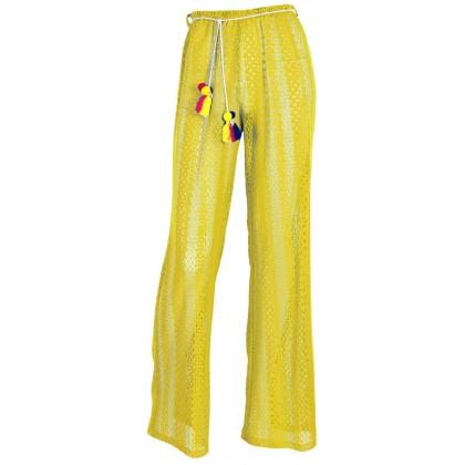 """Παντελόνι από κίτρινη δαντέλλα ημιδιάφανο με ζωνάκι με φουντάκια """"alexSANDra on the beach"""""""