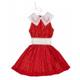 """Φορεμα μίνι απο κοκκινη δαντελλα με λευκο γιακαδακι """"ALEX KATSAITI X STYLISHIOUS"""""""