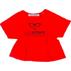 "T-SHIRT ΚΟΡΑΛΙ ΦΛΟΥΟ OVERSIZED ΜΕ ΣΤΑΜΠΑ STYLISHIOUS ""ALEX KATSAITI X STYLISHIOUS"""