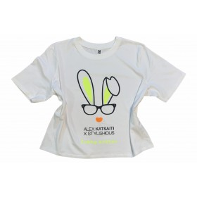 "T-SHIRT ""FUNNY EASTER"" ΛΕΥΚΟ, CROP OVERSIZED ME AYTIA KOYNEΛΙΟΥ ΣΕ ΦΛΟΥΟ ΚΙΤΤΡΙΝΟ ""ALEX KATSAITI X STYLISHIOUS"""