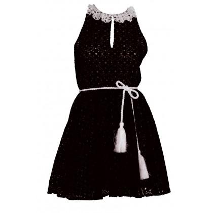 """Φόρεμα απο μαύρη δαντέλλα με λευκό γιακαδάκι, ζώνη και φουρώ """"alexandRA-IN winter"""" by Alexandra Katsaiti"""