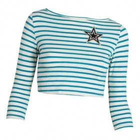 "TOP CROPPED IN TURQUOISE & WHITE STRIPES WITH STAR PATCH  ""AlexandRA-IN winter"""