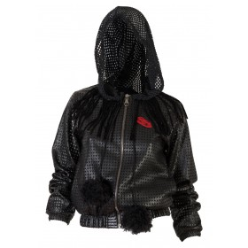 "JACKET BLACK IN PERFORATED LEATHER WITH HOOD ""AlexandRA-IN winter"""