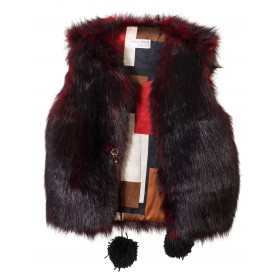 "VEST RED & BLACK IN ECO FRIENDLY FUR ""alexandRA-INwinter"""