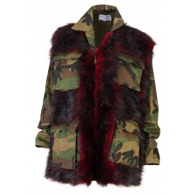 "JACKET OVERSIZED IN ARMY-CAMOUFLAGE PRINT WITH RED & BLACK ECO FRIENDLY FUR ""alexandRA-INwinter"""
