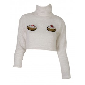 "TOP CROPPED IN WHITE SOFT KNITTED FABRIC WITH CUP CAKES IN SEQUINS ""alexandRA-INwinter"