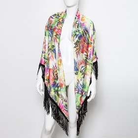 Pareo/cover-up and/or stole in exotic colorful print with suede fringes ''alexSANDra on the beach''