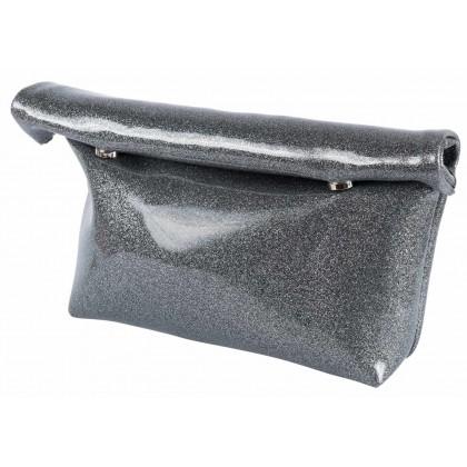 """Τσαντάκι μεταλλιζέ ανθρακί """" Grey / Gold dust """" γυαλιστερό με glitter τύπου Lunchbag by """"Clic"""""""