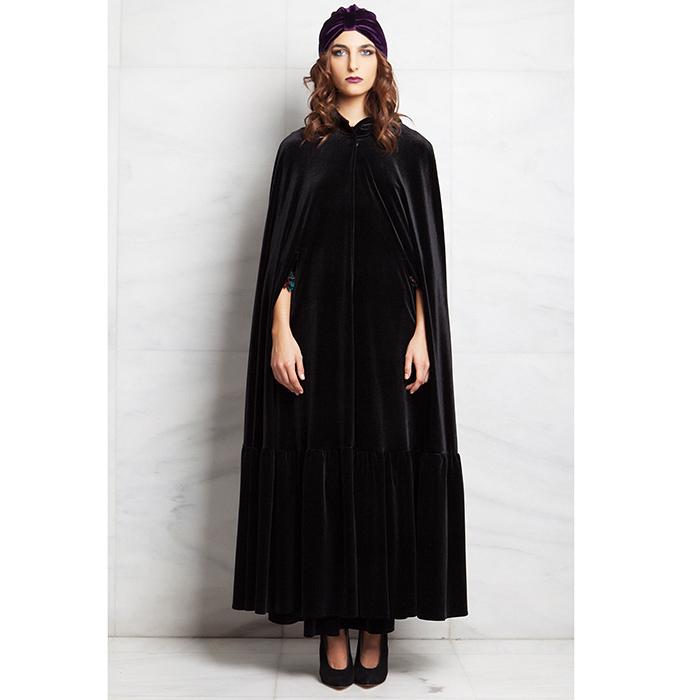 """Κάπα μακρυά μαύρη βελούδινη με κουκούλα """"alexandRA-IN winter"""" γυναικειa   πανωφορια   κιμονο   ποντσο"""