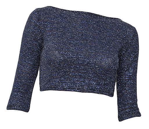 Μπλουζα lurex, σκουρο μπλε μεταλλιζε, κοντή μακρυμανικη