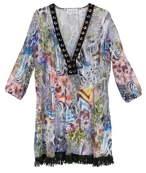 """ΚΑΦΤΑΝΙ / ΤΟΥΝΙΚ ΜΙΝΙ ΑΠΟ ΠΟΛΥΧΡΩΜΟ ΔΙΧΤΥΩΤΟ ΛΕΟΠΑΡ ΥΦΑΣΜΑ """"alexSANDra on t beachwear   μπλουζεσ   τουνικ"""