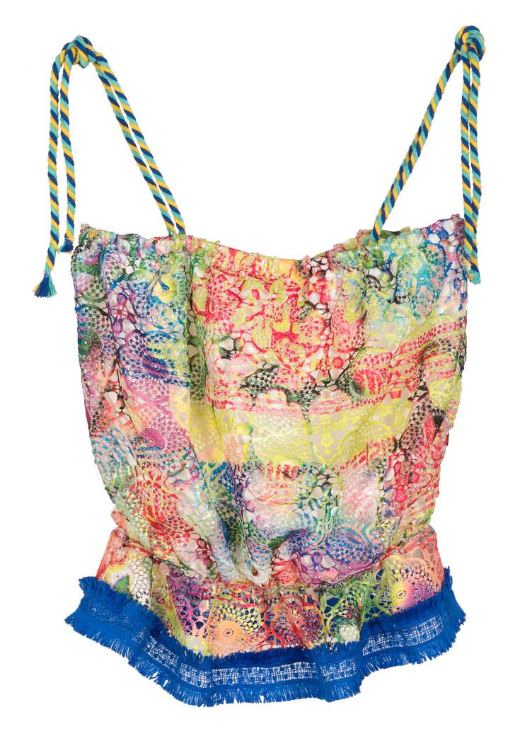 "TOΠ AΠΟ ΠΟΛΥΧΡΩΜΗ ΔΑΝΤΕΛΑ ΜΕ ΛΑΣΤΙΧΟ & ΤΙΡΑΝΤΑΚΙΑ ""alexSANDra on the be beachwear   μπλουζεσ   τουνικ"