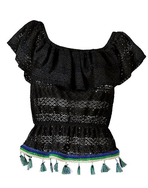 """Τοπ απο μαυρη δαντελα με βολάν & εξω ωμους και χρωματιστα φουντακια """"al beachwear   μπλουζεσ   τουνικ"""