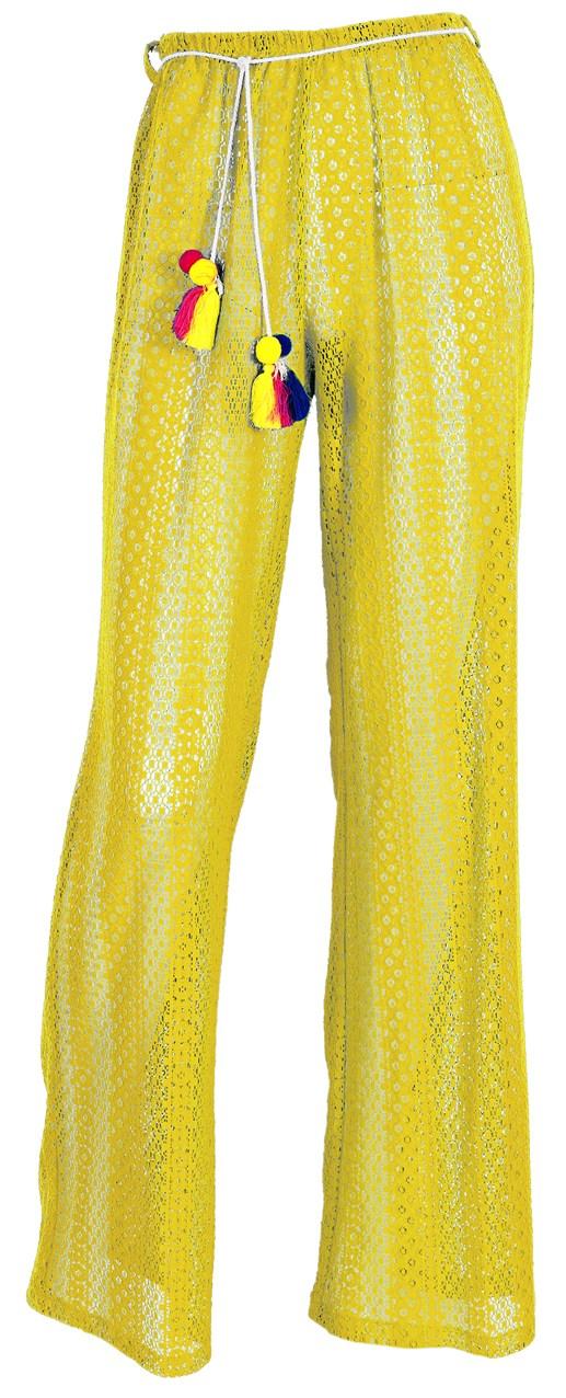 """Παντελόνι από κίτρινη δαντέλλα ημιδιάφανο με ζωνάκι με φουντάκια """"alexSANDr beachwear   σορτσ   παντελονια   φορμεσ"""
