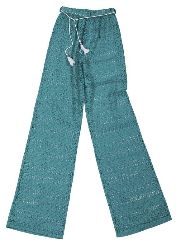 """Παντελόνι από δαντέλλα πετρόλ ημιδιάφανο με ζωνάκι με φουντάκια """"alexSANDra beachwear   σορτσ   παντελονια   φορμεσ"""