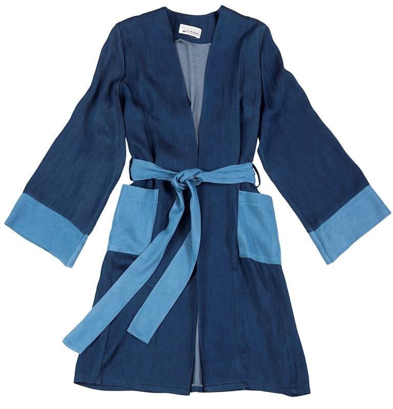 """ΚΙΜΟΝΟ / ΠΑΝΟΦΩΡΙ ΤΥΠΟΥ DENIM ΜΕ ΤΣΕΠΕΣ & ΖΩΝΗ """"alexSANDra ON THE BEACH γυναικειa   εσαρπεσ   καπεσ   ποντσο   kimono"""