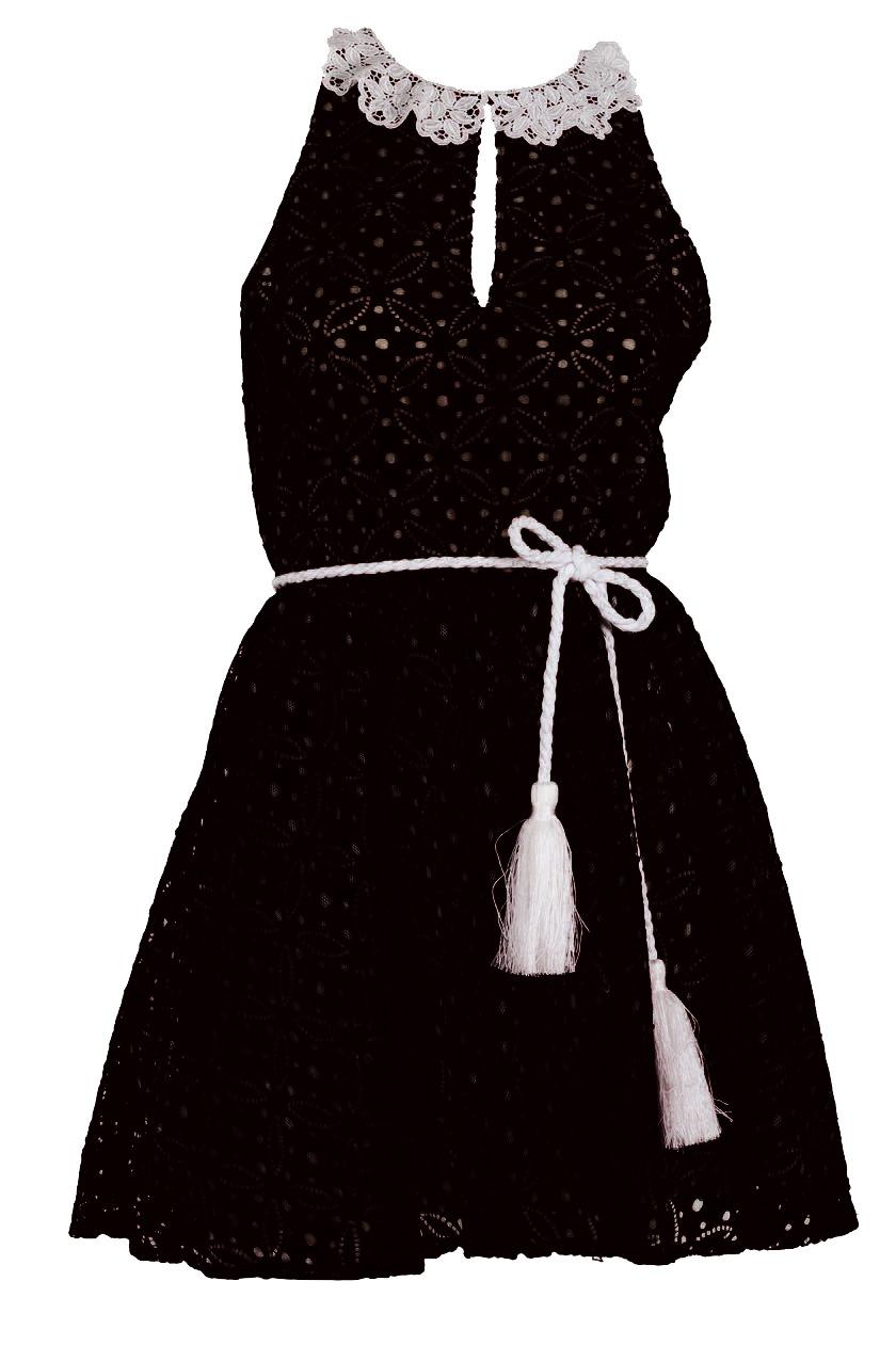 """Φόρεμα απο μαύρη δαντέλλα με λευκό γιακαδάκι, ζώνη και φουρώ """"alexandRA-IN  alexandra inwinter collection"""