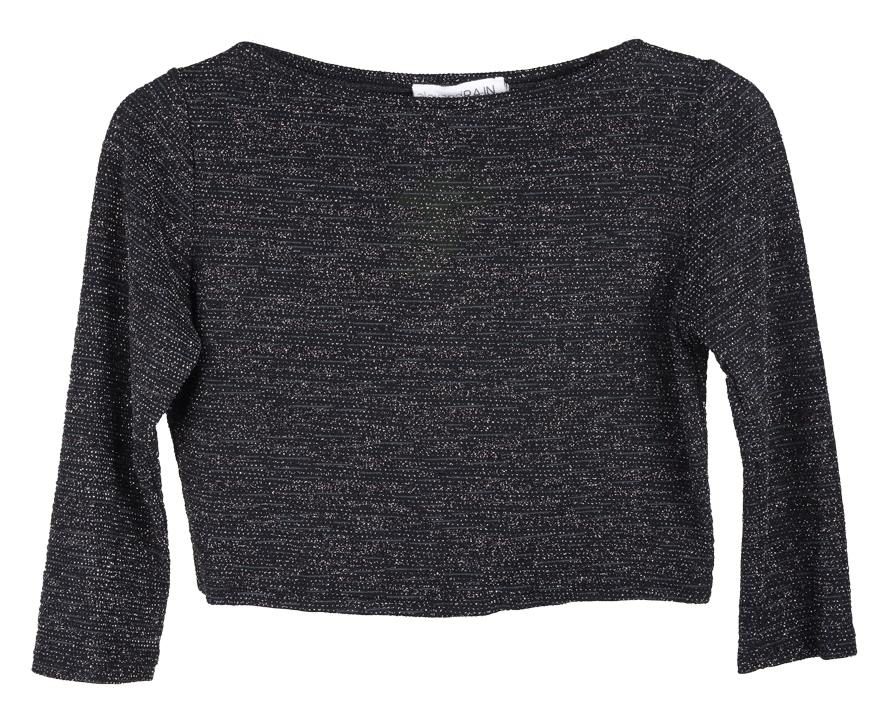 Μπλούζα κοντή, μακρυμάνικη από ελαστικό μαύρο μεταλλιζέ λούρεξ ύφασμα και ντεκολ alexandra inwinter collection