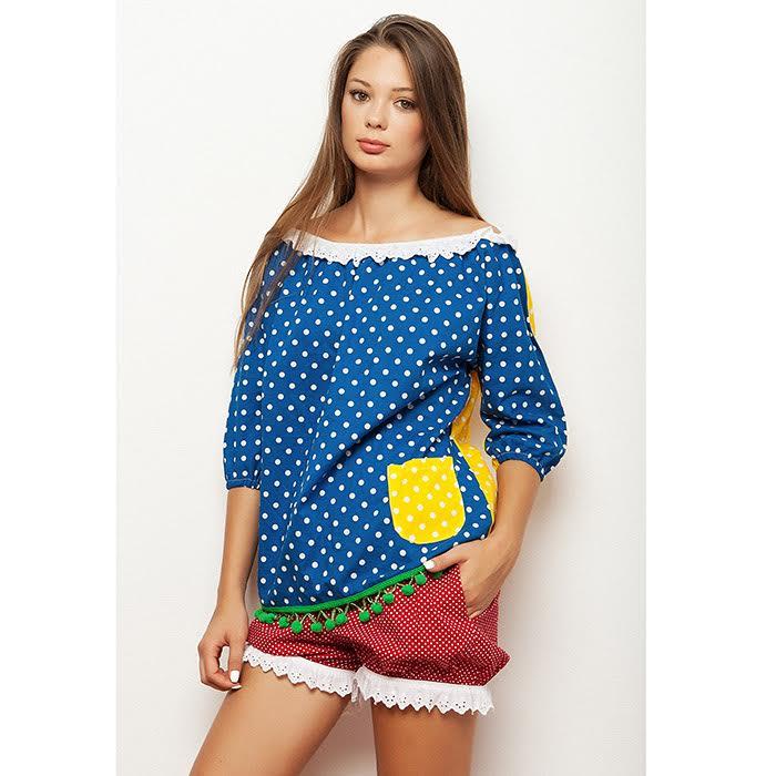 56d4bf3e3c4d Μπλουζα   τουνικ εξω ωμοι πουα διχρωμη μπλε κίτρινο με πον πον